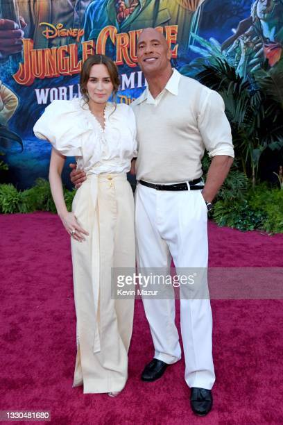 Emily Blunt and Dwayne Johnson arrive at the world premiere for JUNGLE CRUISE, held at Disneyland in Anaheim, California on July 24, 2021.