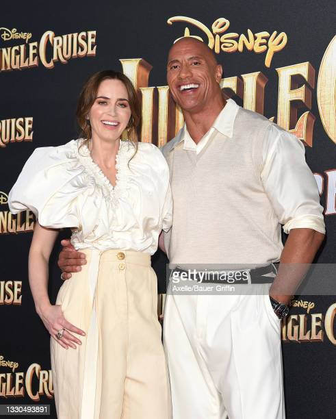"""Emily Blunt and Dwayne Johnson attend the World Premiere of Disney's """"Jungle Cruise"""" at Disneyland on July 24, 2021 in Anaheim, California."""