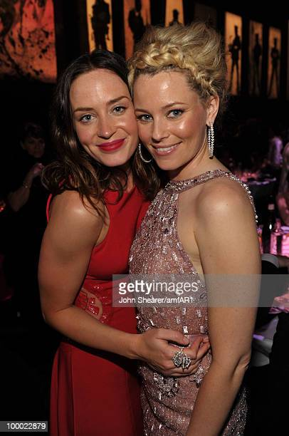 Emily Blunt and Elizabeth Banks attend amfAR's Cinema Against AIDS 2010 benefit gala dinner at the Hotel du Cap on May 20 2010 in Antibes France