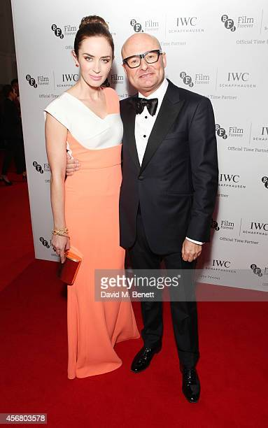 Emily Blunt and Georges Kern CEO IWC Schaffhausen attend the BFI London Film Festival IWC Gala Dinner in honour of the BFI at Battersea Evolution...