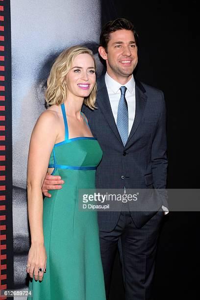 Emily Blunt and husband John Krasinski attend 'The Girl on the Train' New York premiere at Regal EWalk Stadium 13 on October 4 2016 in New York City