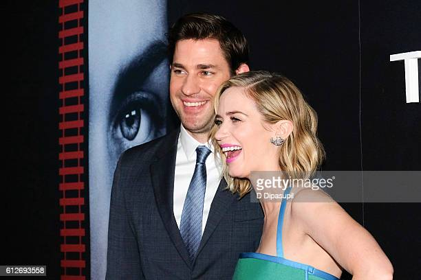 Emily Blunt and husband John Krasinski attend The Girl on the Train New York premiere at Regal EWalk Stadium 13 on October 4 2016 in New York City