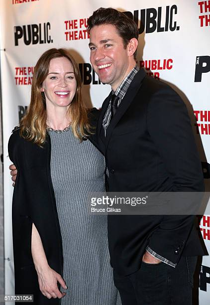Emily Blunt and husband John Krasinski pose at the Opening Night Party Arrivals for the new play 'Dry Powder' at The Public Theater on March 22 2016...