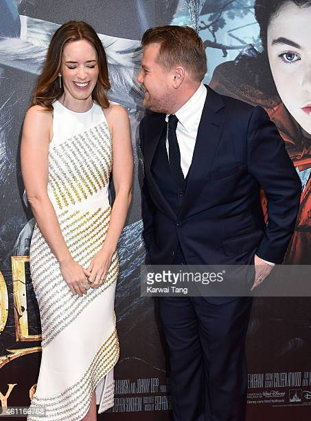 """Emily Blunt and James Corden attend the gala screening of """"Into The Woods"""" at The Curzon Mayfair on January 7, 2015 in London, England."""