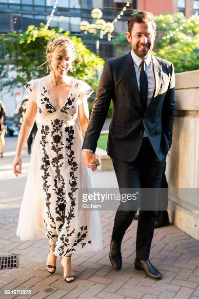 Emily Blunt and John Krasinski are seen in Midtown on July 9, 2018 in New York City.