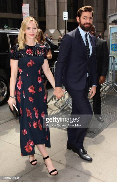 Emily Blunt and John Krasinski are seen on April 13 2018 in New York City