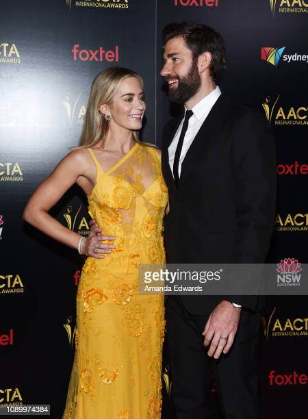 Emily Blunt and John Krasinski arrive at the 8th AACTA International Awards at Mondrian Los Angeles on January 04 2019 in West Hollywood California
