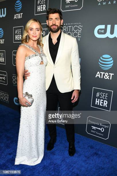 Emily Blunt and John Krasinski at Claire Foy Accepts The #SeeHer Award At The 24th Annual Critics' Choice Awards The Barker Hanger on January 13,...