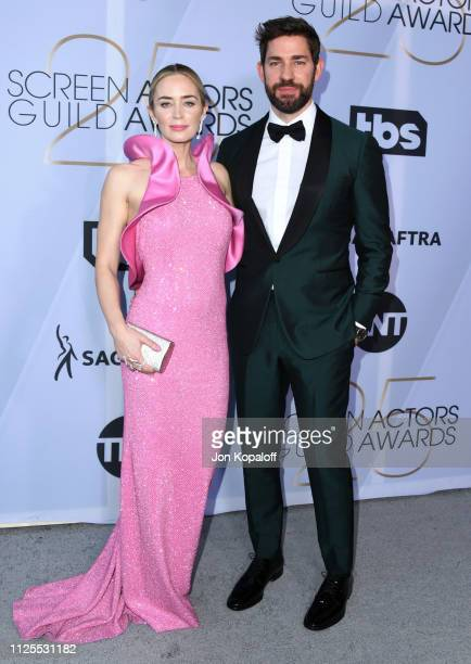 Emily Blunt and John Krasinski attend 25th Annual Screen Actors Guild Awards at The Shrine Auditorium on January 27, 2019 in Los Angeles, California.