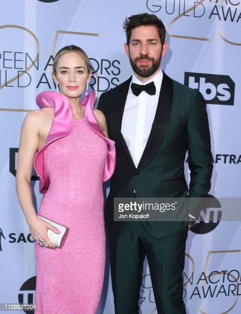 Emily Blunt and John Krasinski attend 25th Annual Screen Actors Guild Awards at The Shrine Auditorium on January 27 2019 in Los Angeles California
