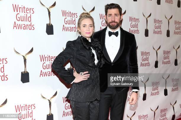 Emily Blunt and John Krasinski attend 71st Annual Writers Guild Awards New York Ceremony at Edison Ballroom on February 17 2019 in New York City