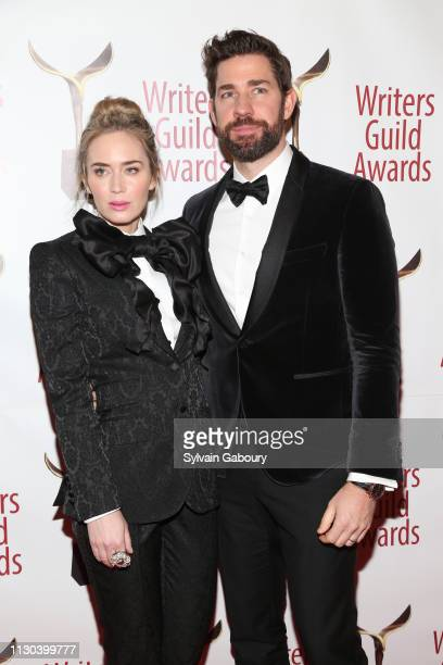 Emily Blunt and John Krasinski attend 71st Annual Writers Guild Awards New York Ceremony at Edison Ballroom on February 17 2019 in New York City