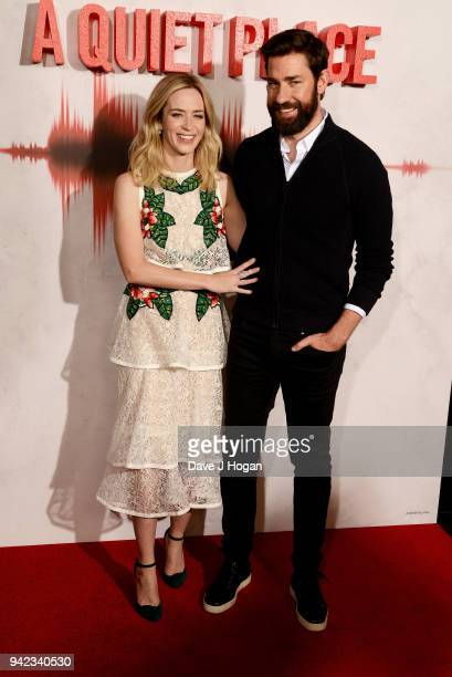 Emily Blunt and John Krasinski attend a screening of 'A Quiet Place' at Curzon Soho on April 5 2018 in London England