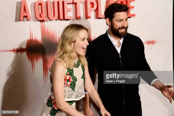 """Emily Blunt and John Krasinski attend a screening of """"A Quiet Place"""" at Curzon Soho on April 5, 2018 in London, England."""