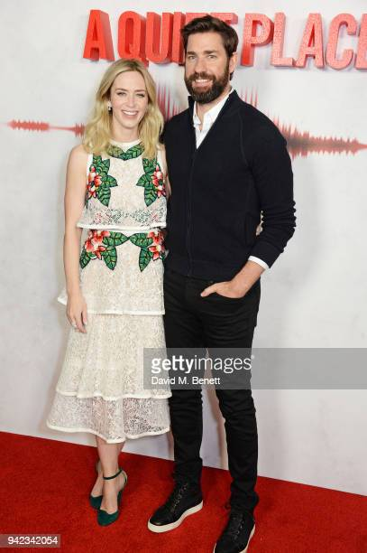 Emily Blunt and John Krasinski attend an immersive fan screening of 'A Quiet Place' at The Curzon Soho on April 5 2018 in London England