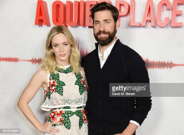 """Emily Blunt and John Krasinski attend an immersive fan screening of """"A Quiet Place"""" at The Curzon Soho on April 5, 2018 in London, England."""