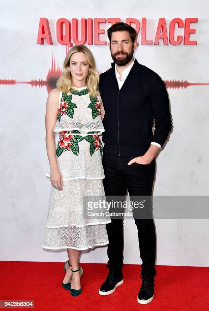 Emily Blunt and John Krasinski attend an immersive VIP Fan Screening of 'A Quiet Place' on April 5 2018 in London England