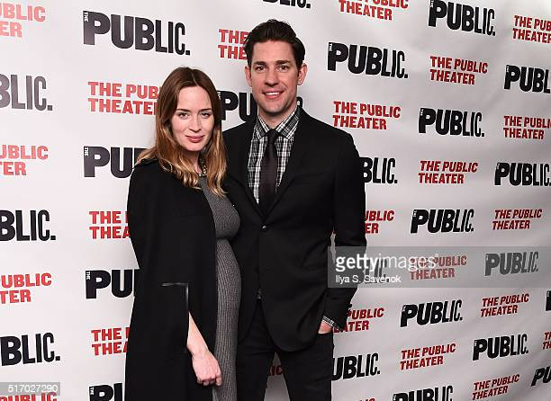 Emily Blunt and John Krasinski attend 'Dry Powder' Opening Night at The Public Theater on March 22 2016 in New York City
