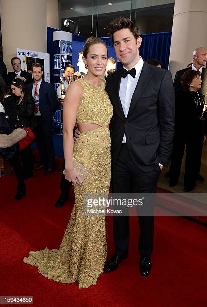 Emily Blunt and John Krasinski attend Moet Chandon At The 70th Annual Golden Globe Awards Red Carpet at The Beverly Hilton Hotel on January 13 2013...