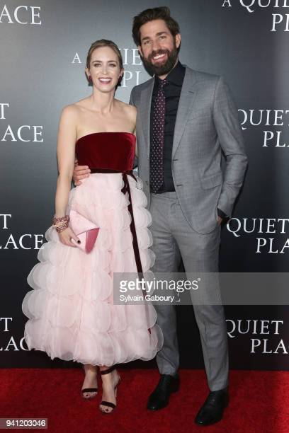 Emily Blunt and John Krasinski attend New York Premiere of 'A Quiet Place' on April 2 2018 in New York City