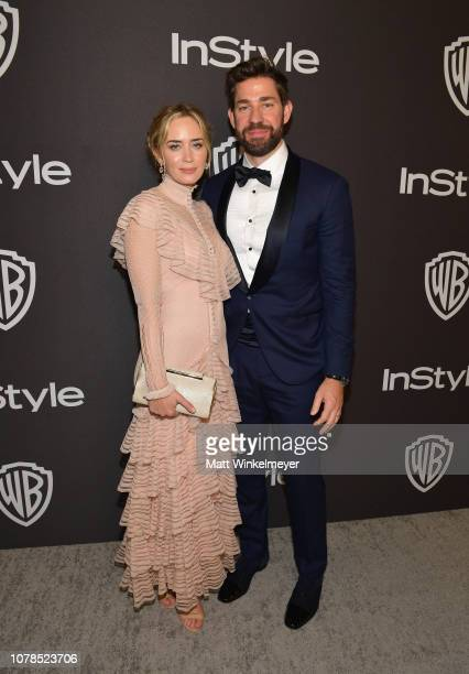 Emily Blunt and John Krasinski attend the 2019 InStyle and Warner Bros. 76th Annual Golden Globe Awards Post-Party at The Beverly Hilton Hotel on...