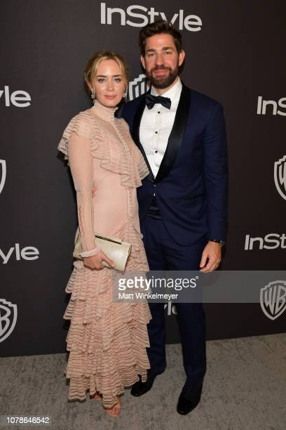 Emily Blunt and John Krasinski attend the 2019 InStyle and Warner Bros 76th Annual Golden Globe Awards PostParty at The Beverly Hilton Hotel on...