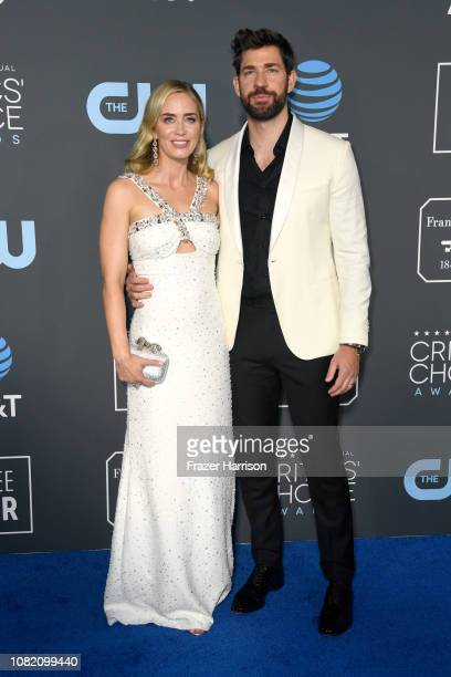 Emily Blunt and John Krasinski attend the 24th annual Critics' Choice Awards at Barker Hangar on January 13 2019 in Santa Monica California