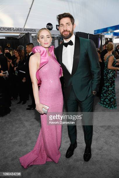 Emily Blunt and John Krasinski attend the 25th Annual Screen Actors Guild Awards at The Shrine Auditorium on January 27, 2019 in Los Angeles,...