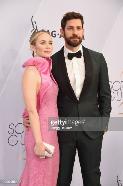 Emily Blunt and John Krasinski attend the 25th Annual Screen ActorsGuild Awards at The Shrine Auditorium on January 27, 2019 in Los Angeles,...