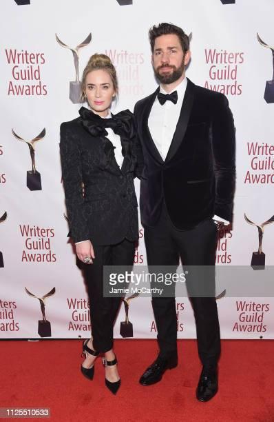 Emily Blunt and john krasinski attend the 71st Annual Writers Guild Awards New York ceremony at Edison Ballroom on February 17 2019 in New York City