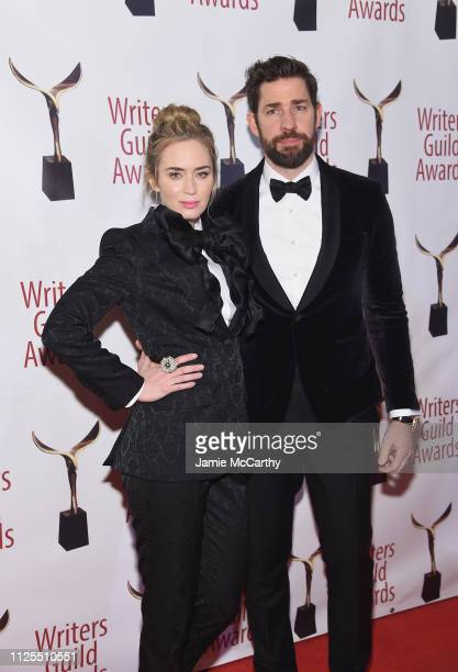 Emily Blunt and john krasinski attend the 71st Annual Writers Guild Awards New York ceremony at Edison Ballroom on February 17 2019 in New York City