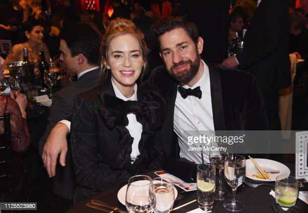 Emily Blunt and John Krasinski attend the 71st Annual Writers Guild Awards New York ceremony at Edison Ballroom on February 17, 2019 in New York City.