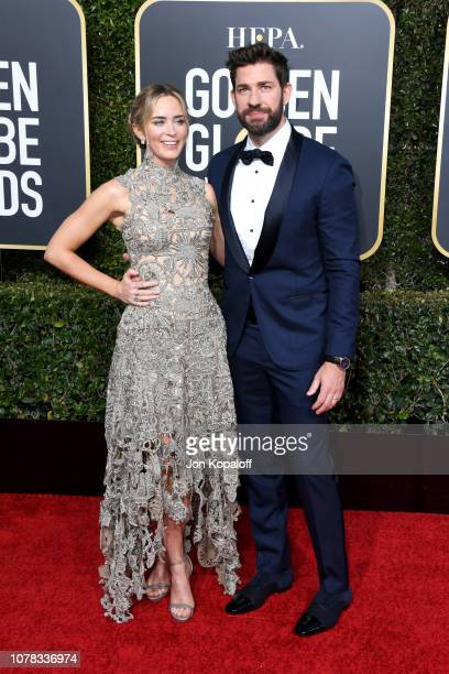 Emily Blunt and John Krasinski attend the 76th Annual Golden Globe Awards at The Beverly Hilton Hotel on January 6 2019 in Beverly Hills California