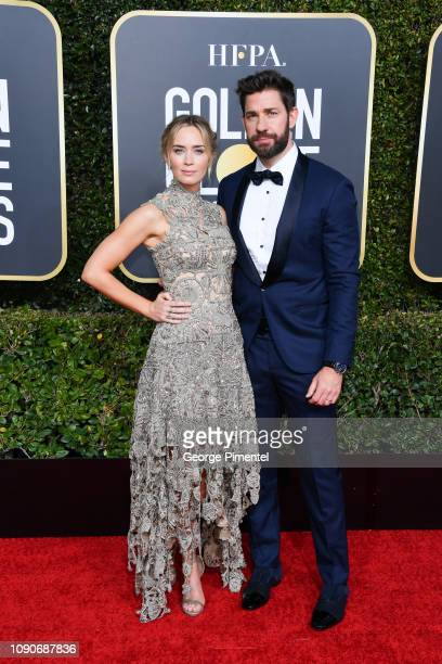 Emily Blunt and John Krasinski attend the 76th Annual Golden Globe Awards held at The Beverly Hilton Hotel on January 06 2019 in Beverly Hills...