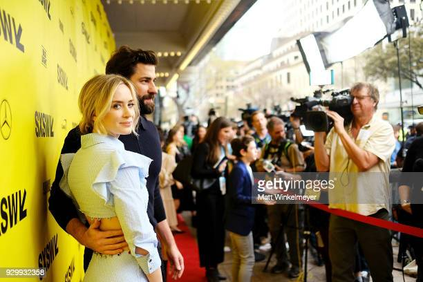 Emily Blunt and John Krasinski attend the A Quiet Place Premiere 2018 SXSW Conference and Festivals at Paramount Theatre on March 9 2018 in Austin...