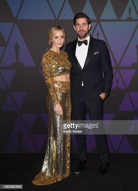 Emily Blunt and John Krasinski attend the Academy of Motion Picture Arts and Sciences' 10th annual Governors Awards at The Ray Dolby Ballroom at...