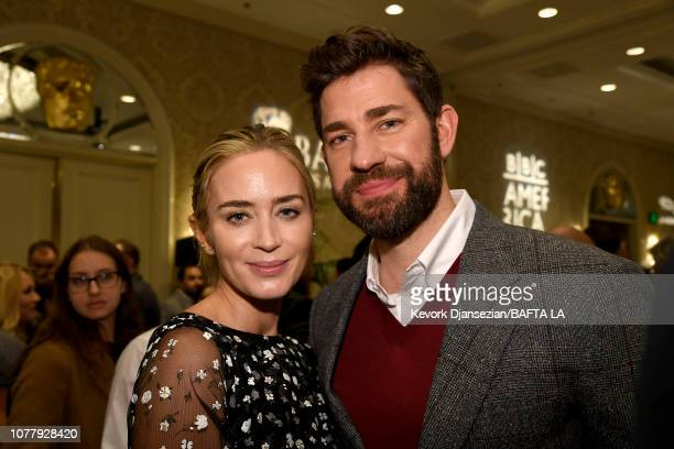 Emily Blunt and John Krasinski attend The BAFTA Los Angeles Tea Party at Four Seasons Hotel Los Angeles at Beverly Hills on January 5, 2019 in Los...