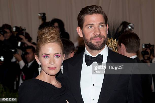 Emily Blunt and John Krasinski attend the Costume Institute Gala for the 'PUNK Chaos to Couture' exhibition at the Metropolitan Museum of Art in New...