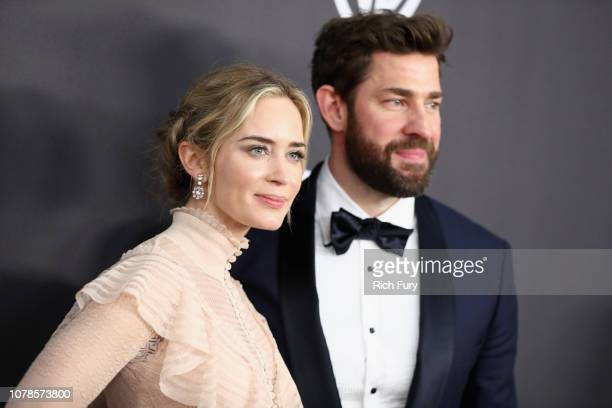Emily Blunt and John Krasinski attend the InStyle And Warner Bros. Golden Globes After Party 2019 at The Beverly Hilton Hotel on January 6, 2019 in...