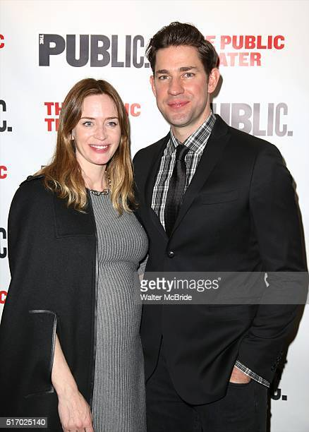 Emily Blunt and John Krasinski attend the OffBroadway Opening Night after party for 'Dry Powder' at the Public Theatre on March 22 2016 in New York...