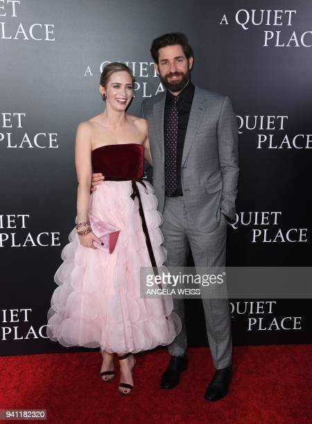 Emily Blunt and John Krasinski attend the Paramount Pictures premiere for 'A Quiet Place' at AMC Lincoln Square Theater on April 2 2018 in New York...