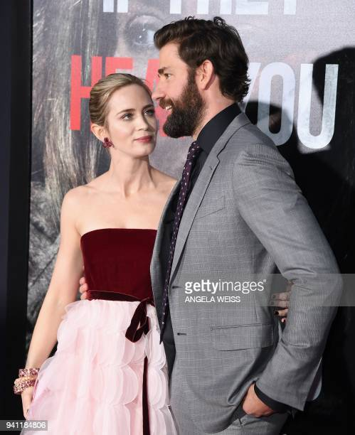 Emily Blunt and John Krasinski attend the Paramount Pictures premiere for 'A Quiet Place' at AMC Lincoln Square Theater on April 2, 2018 in New York...