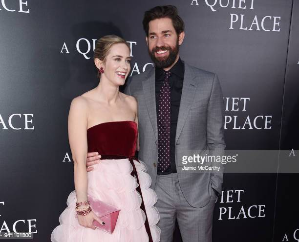 Emily Blunt and John Krasinski attend the premiere for 'A Quiet Place' at AMC Lincoln Square Theater on April 2 2018 in New York City