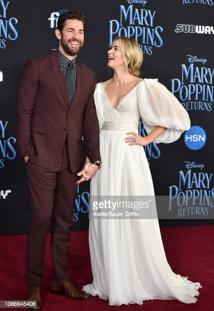 Emily Blunt and John Krasinski attend the premiere of Disney's 'Mary Poppins Returns' at El Capitan Theatre on November 29 2018 in Los Angeles...