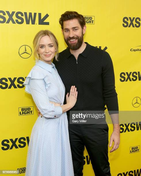 """Emily Blunt and John Krasinski attend the screening of """"A Quiet Place"""" during the South By Southwest Conference and Festivals at the Paramount..."""
