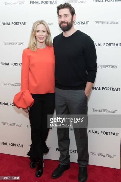 Emily Blunt and John Krasinski attend the screening of Final Portrait at Guggenheim Museum on March 22, 2018 in New York City.