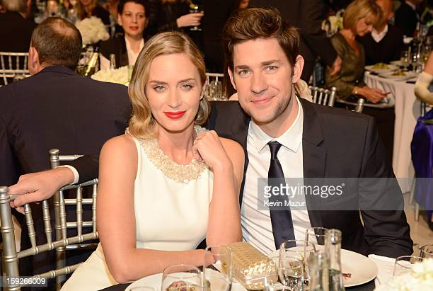 Emily Blunt and John Krasinski during the 18th Annual Critics' Choice Movie Awards at The Barker Hanger on January 10 2013 in Santa Monica California