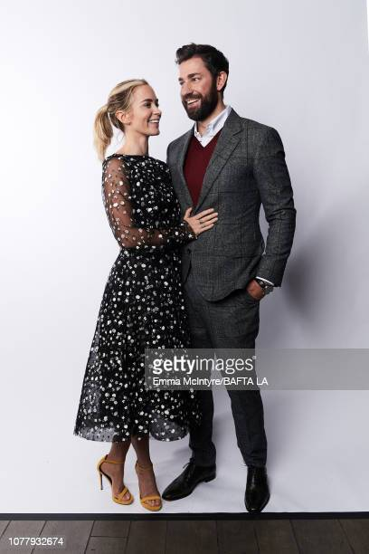 Emily Blunt and John Krasinski pose for a portrait at The BAFTA Tea Party on January 5 2019 in Beverly Hills California