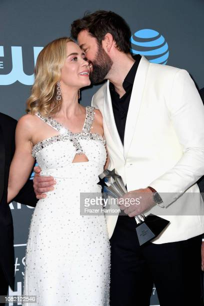 Emily Blunt and John Krasinski pose in the press room during the 24th annual Critics' Choice Awards at Barker Hangar on January 13, 2019 in Santa...