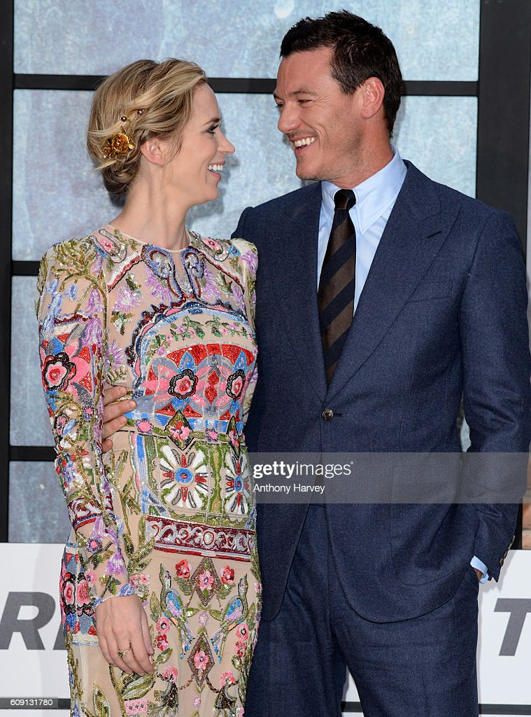 Emily Blunt and Luke Evans attend 'The Girl On The Train' world premiere at Odeon Leicester Square on September 20, 2016 in London, England.